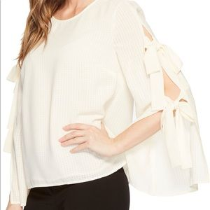 NWT cece antique white tie bell sleeve blouse